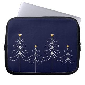 Elegant minimalist Christmas tree design blue Laptop Sleeve