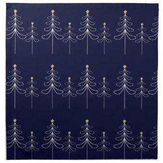 Elegant minimalist Christmas tree design blue Napkin