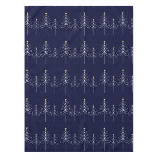 Elegant minimalist Christmas tree design blue Tablecloth