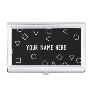 Elegant minimalist geometric pattern black white business card holder