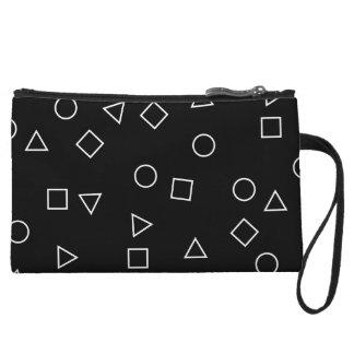 Elegant minimalist geometric pattern black white wristlet