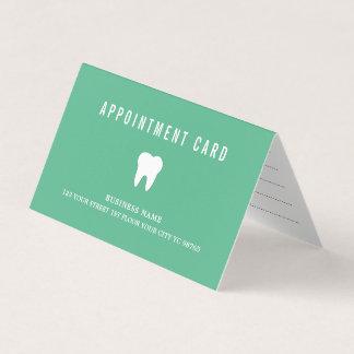 Elegant Minimalist Green White Dentist Appointment Card