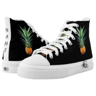 elegant minimalist pineapple | black background high tops