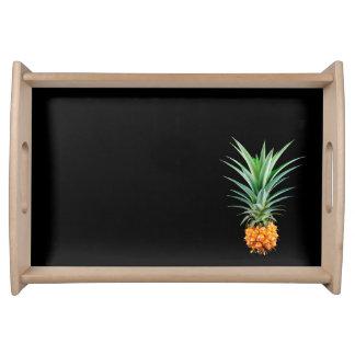 elegant minimalist pineapple | black background serving tray