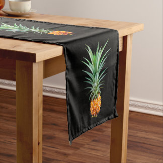 elegant minimalist pineapple | black background short table runner