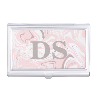 Elegant minimalist pink and white marble look business card holder