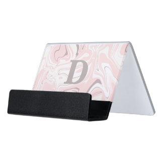 Elegant minimalist pink and white marble look desk business card holder