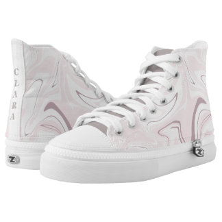Elegant minimalist pink and white marble look high tops