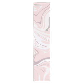 Elegant minimalist pink and white marble look short table runner