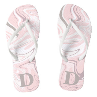Elegant minimalist pink and white marble look thongs