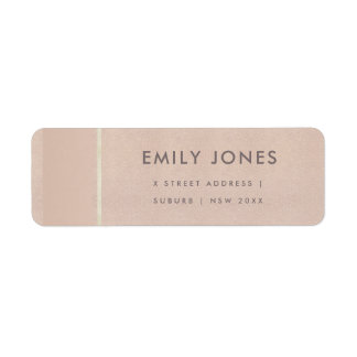 ELEGANT MINIMALIST ROSE GOLD SHIMMER ADDRESS RETURN ADDRESS LABEL