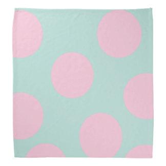 elegant mint and large pink polka dots pattern bandana