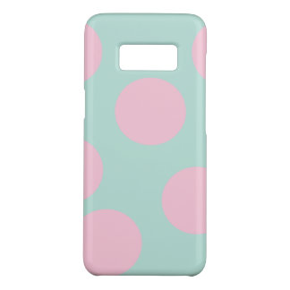 elegant mint and large pink polka dots pattern Case-Mate samsung galaxy s8 case