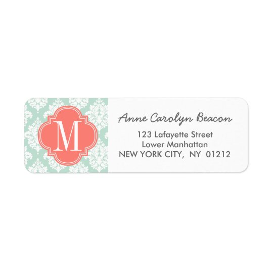 Elegant Mint Damask Personalised Return Address Label