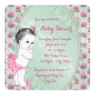 Elegant Mint Green and Pink Rose Baby Girl Shower 13 Cm X 13 Cm Square Invitation Card