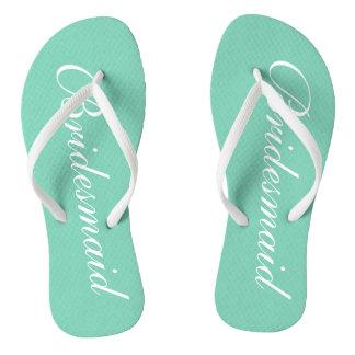 Elegant mint green bridesmaid wedding flip flops thongs