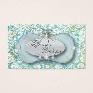 Elegant mint green damask Fashion Business Cards