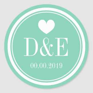 Elegant mint green monogram wedding stickers