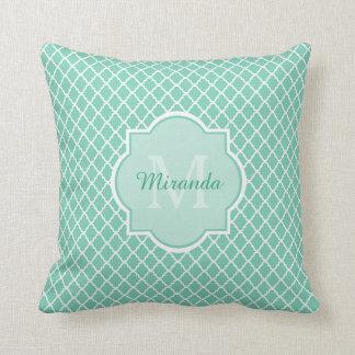 Elegant Mint Green Quatrefoil Monogram With Name Cushion