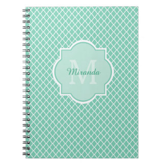 Elegant Mint Green Quatrefoil Monogram With Name Notebook
