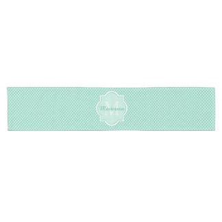 Elegant Mint Green Quatrefoil Monogram With Name Short Table Runner