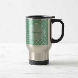 Elegant Mint Green Quatrefoil Monogram With Name Stainless Steel Travel Mug