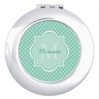 Elegant Mint Green Quatrefoil Monogram With Name Travel Mirror