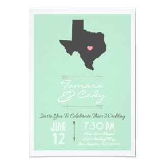 Elegant Mint Green Texas Wedding Invitation