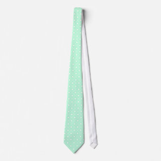 Elegant mint green tile pattern neck tie