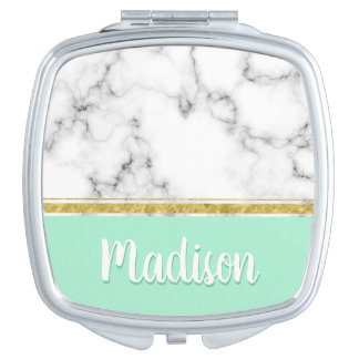 Elegant Mint Marble and Gold Custom Name Makeup Mirror