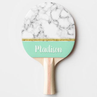 Elegant Mint Marble and Gold Custom Name Ping Pong Paddle