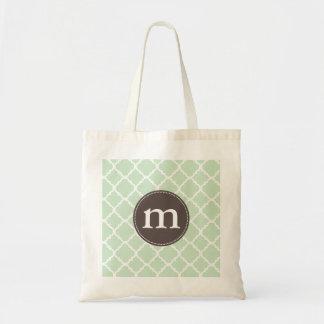 Elegant Mint Moroccan Quatrefoil Personalized Tote Bag