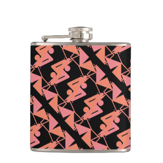 Elegant Mirrored Geometric & Abstract Pattern Hip Flask