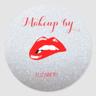 Elegant Moder Girly,Glittery,Red Lips Classic Round Sticker