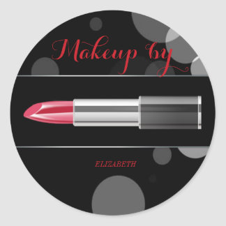 Elegant Moder Girly,Makeup artist,Red Lipstick Classic Round Sticker