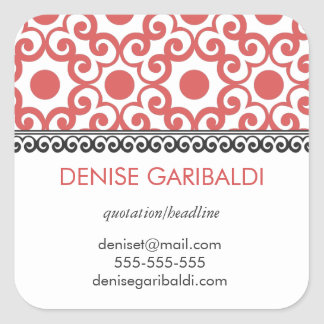 Elegant Modern Arabesque Personalized Address Square Sticker