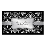 Elegant Modern Black and White Damask With Silver Business Card Template