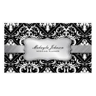 Elegant Modern Black and White Damask With Silver Pack Of Standard Business Cards