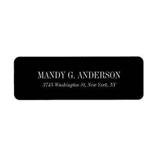 Elegant Modern Black Background Professional Return Address Label