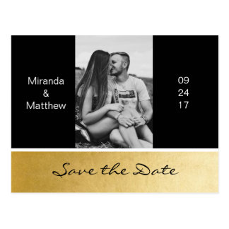 Elegant Modern Black Gold Wedding Save The Date Postcard