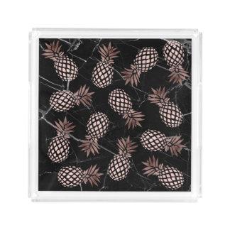 elegant modern black marble rose gold pineapple acrylic tray