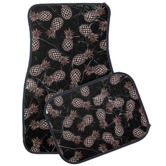 elegant modern black marble rose gold pineapple car mat