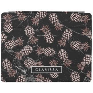 elegant modern black marble rose gold pineapple iPad cover