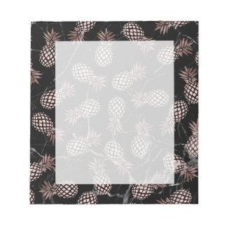 elegant modern black marble rose gold pineapple notepad