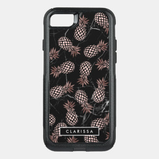elegant modern black marble rose gold pineapple OtterBox commuter iPhone 8/7 case