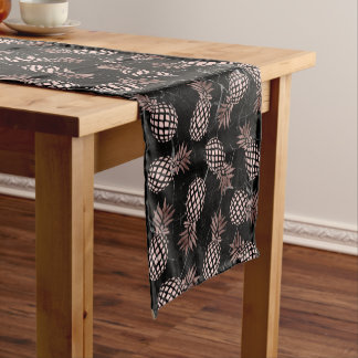 elegant modern black marble rose gold pineapple short table runner