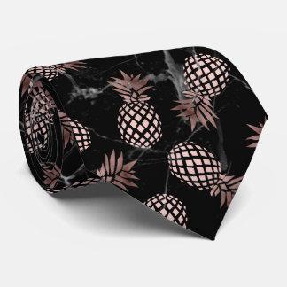 elegant modern black marble rose gold pineapple tie