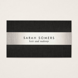 Elegant Modern Black Silver Striped Professional Business Card