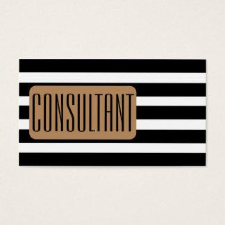 Elegant Modern Black Stripes Consultant Business Card