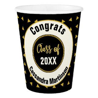 Elegant Modern Black White Gold Graduation Party Paper Cup
